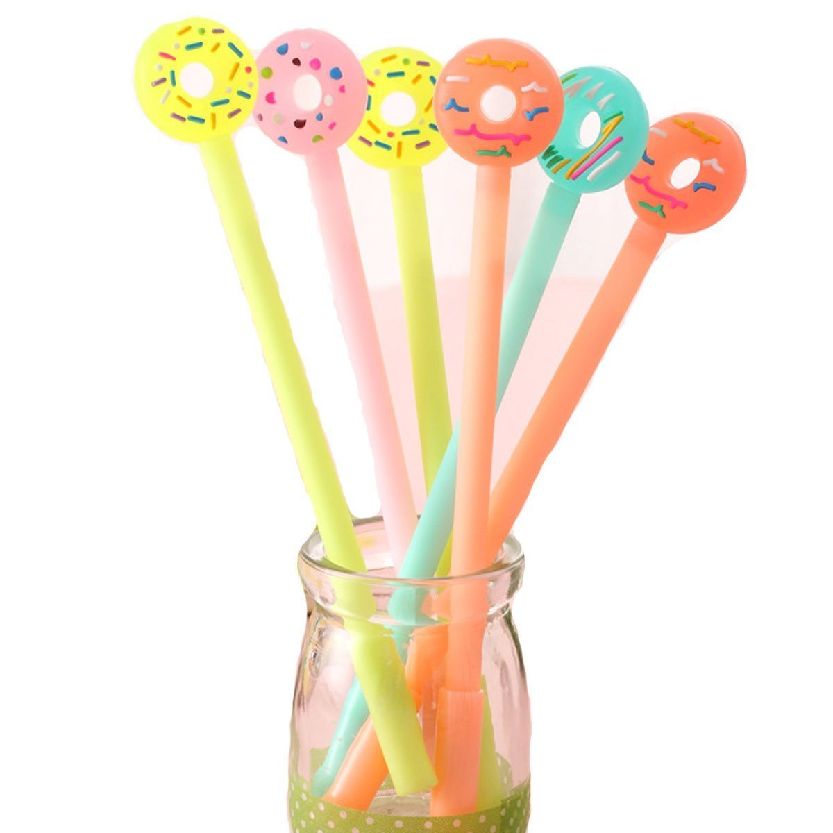 WIN-MARKET Fashion Cute Cool Lollipop Candy Color Cartoon Doughnuts Gel Pen Creative Cartoon Ball Pens Office School Supply Stationery (6PCS)