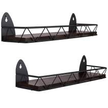 TJ.MOREE Spice Rack Wall Mounted 2 Pack Rustic Wood Hanging Spice Rack over the Stove, Kitchen Wall Spice Rack Black Cherry Stain