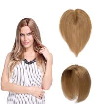 SEGO Hair Topper Pieces Silk Base Real Human Hair Clip in Top Hairpieces for Women Replacement Hand-made 100% Density for Hair Loss Thinning Covering Grey Hair #27 Dark Blonde 18''20g