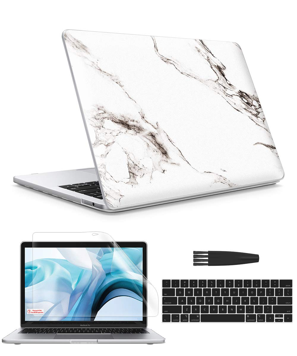 GVIEWIN Macbook pro 13 inch Case 2019 2018 2017 2016 Release A2159 A1989 A1706 A1708, Marble Hard Sell& Keyboard Cover & Screen Protector & Cleaning Brush, Compatible with MacBook Pro 13, Marble/White