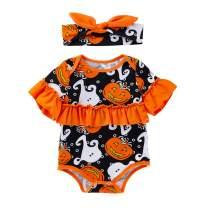 My First Halloween Baby Bodysuit Newborn Boys Girls Orange One-Piece Trick to Trick Romper Outfit with Headband