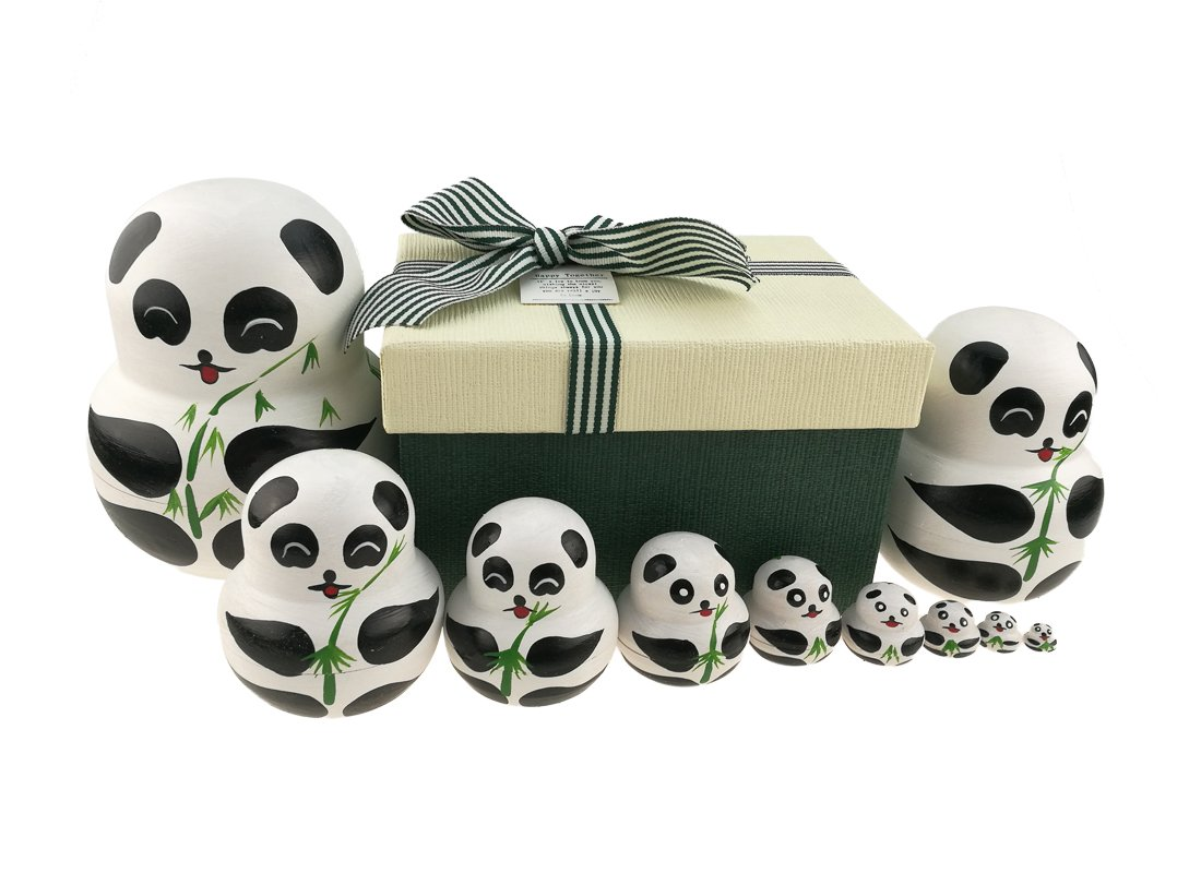 Apol Set of 10 Big-Belly Wooden Handmade Panda Bear with Bamboo Nesting Dolls Matryoshka Russian Doll in a Box with Bow for Kids Toy Home Decoration New Year
