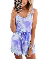GOSO Womens Summer Casual Jumpsuit,Tie Dye Sleeveless Elastic Waist Short Romper Playsuits with Pockets
