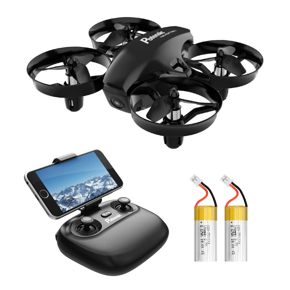 Potensic A20W Mini Drone for Kids with Camera, RC Portable Quadcopter 2.4G 6 Axis - Altitude Hold, Headless, Remote Control, Route Settiing, Real Time FPV, 2 Batteries