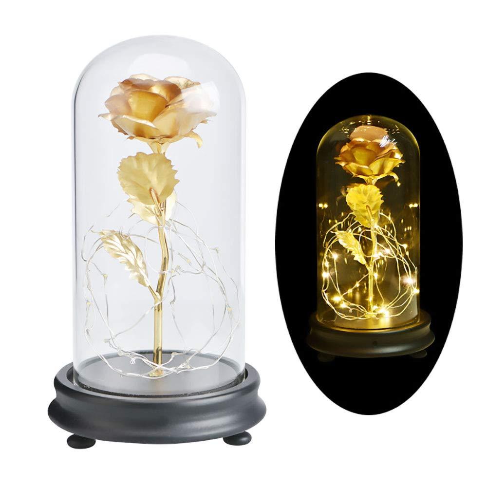 DOTKV Galaxy Rose 24k Gold Rose Glass Rose Flower Forever Rose on Gold Foil Flower Creative Decoration(Gold)