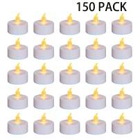 Nancia Tea Lights, 150PACK Flameless LED Tea Lights Candles, Flickering Warm Yellow, 100 Hours Battery-Powered Tea Light, Ideal Party, Wedding, Birthday, Gifts Home Decoration (150 Pack)