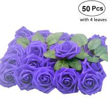Lmeison Artificial Flower Rose, 50pcs Real Looking Fake Roses w/Stem for Bridal Wedding Bouquets Centerpieces Baby Shower DIY Party Home Decor, Purple