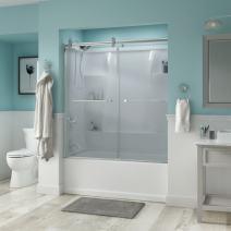 Delta Shower Doors SD3276708 Linden Semi-Frameless Contemporary Sliding Bathtub Door 60in.x58-3/4in Handle, Chrome Track