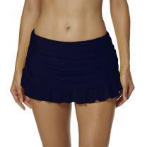 upandfast Women's Swim Skirts Solid Skirted Bikini Bottom Skirt A-Line Swim Skorts