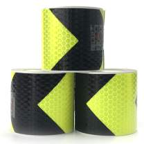 VOOFENG Arrow Reflective Tape 2inx118in Conspicuity Safety Warning Tape 3 Rolls Fluorescent Yellow/Black