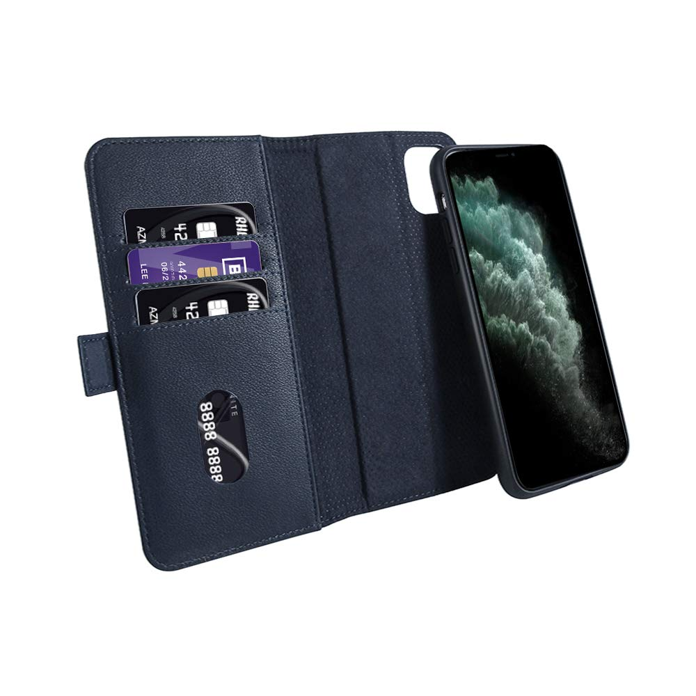 Case for New iPhone 11 Pro Max 2019 Leather Wallet Case Detachable With 3 Card Slots Kickstand Flip Cover Auto Lock Wireless Charging RFID Protection Compatible With iPhone XI Max Pro 6.5 inch Blue