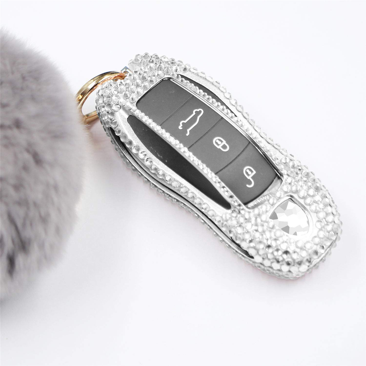 M.JVisun Handmade Car Key Fob Cover for Porsche Remote Fob, Diamond Key Case Cover Fits Porsche 718 911 918 Panamera Macan Cayenne Boxster Cayman, Bling Crystals Aluminum Key Cover Protector - Silver