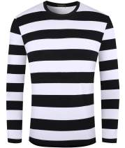 Ezsskj Men's Christmas Costumes Shirt Long Sleeve Black White Striped T-Shirt Casual Cotton Tee Underwear