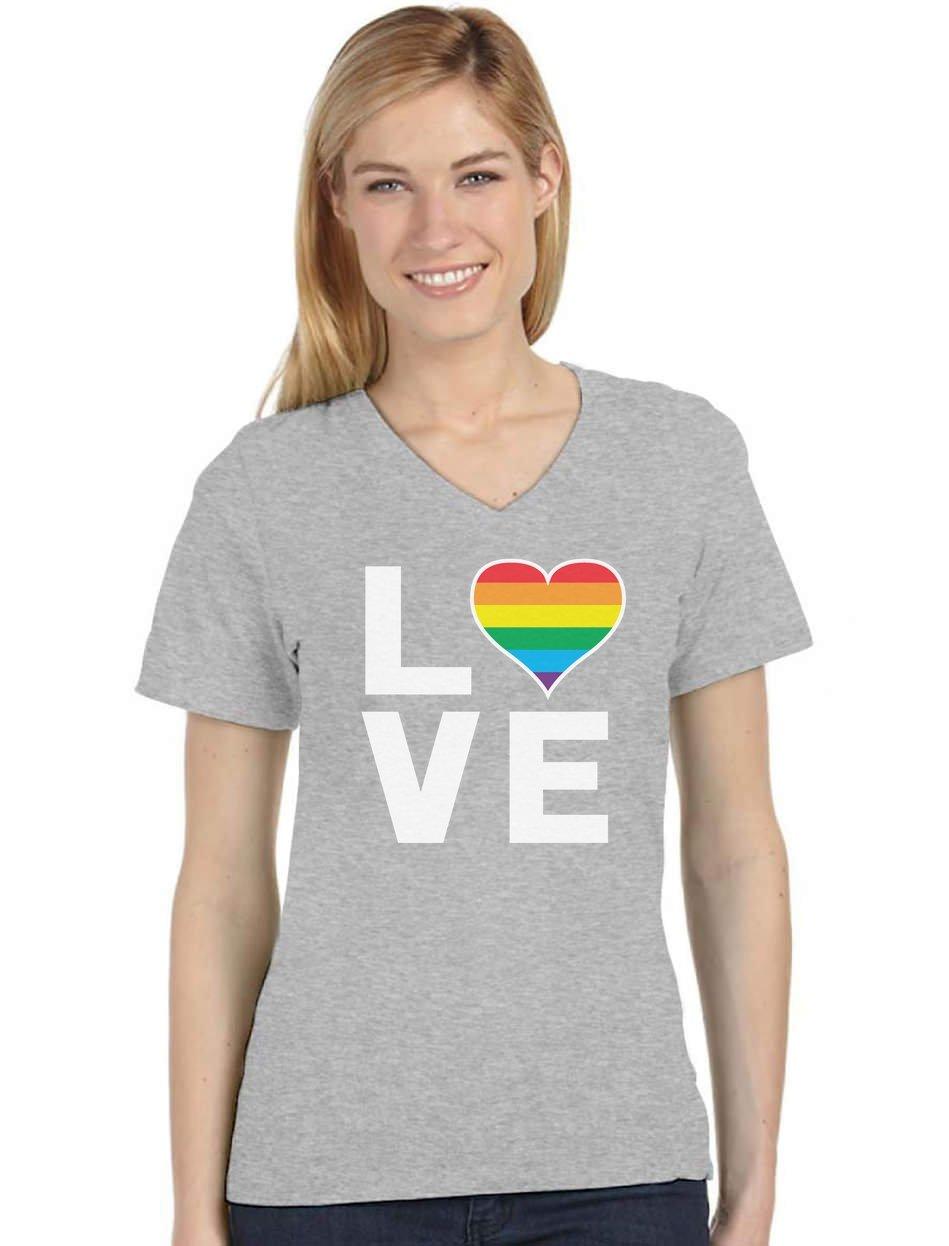Gay Love Rainbow Heart Shirt Gay Pride Awareness V Neck Women T-Shirt