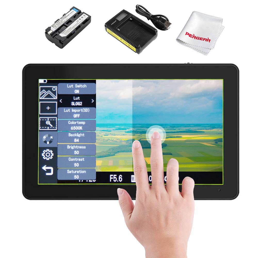 Pergear A6 Plus 5.5inch Touchscreen IPS 1920X1080 4K HDMI Camera Monitor Brightness 500cd/m2 3D Lut Camera Video Field Monitor,W/Battery and Charger