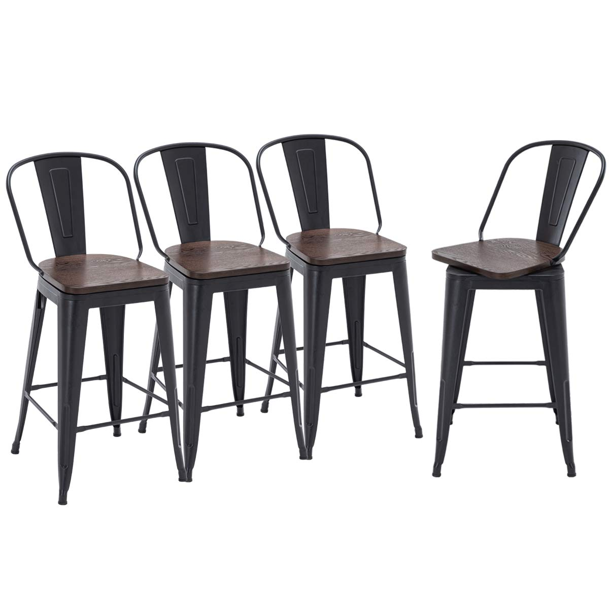 HAOBO Home Swivel Metal Barstools High Back Counter Bar Stools Set of 4 (Matte Black with Wooden Seat, Swivel 26 inch)