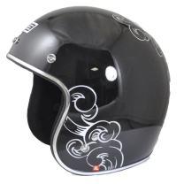 Origine O500 Jet 3/4 Open Face Motorcycle Helmet DOT Cafe Racer Retro Vintage (Gloss Black/Calavera)