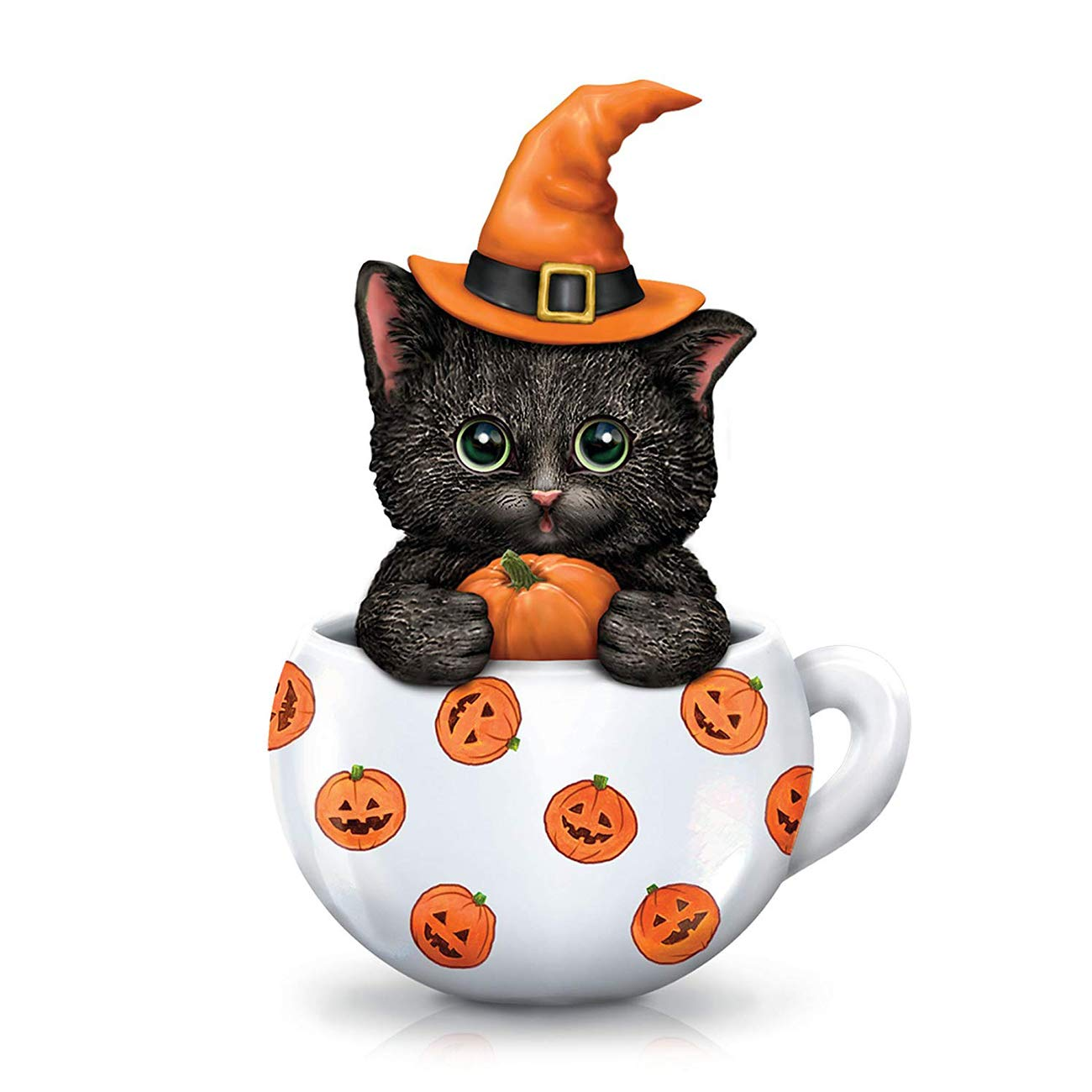 5D Diamond Painting Full Drill Pumpkin Hat Kitten by Number Kits, DIY Rhinestone Pasted Paint Set for Arts Craft Decoration by SKRYUIE, Halloween Cup Cat (12x16inch, 30x40cm)