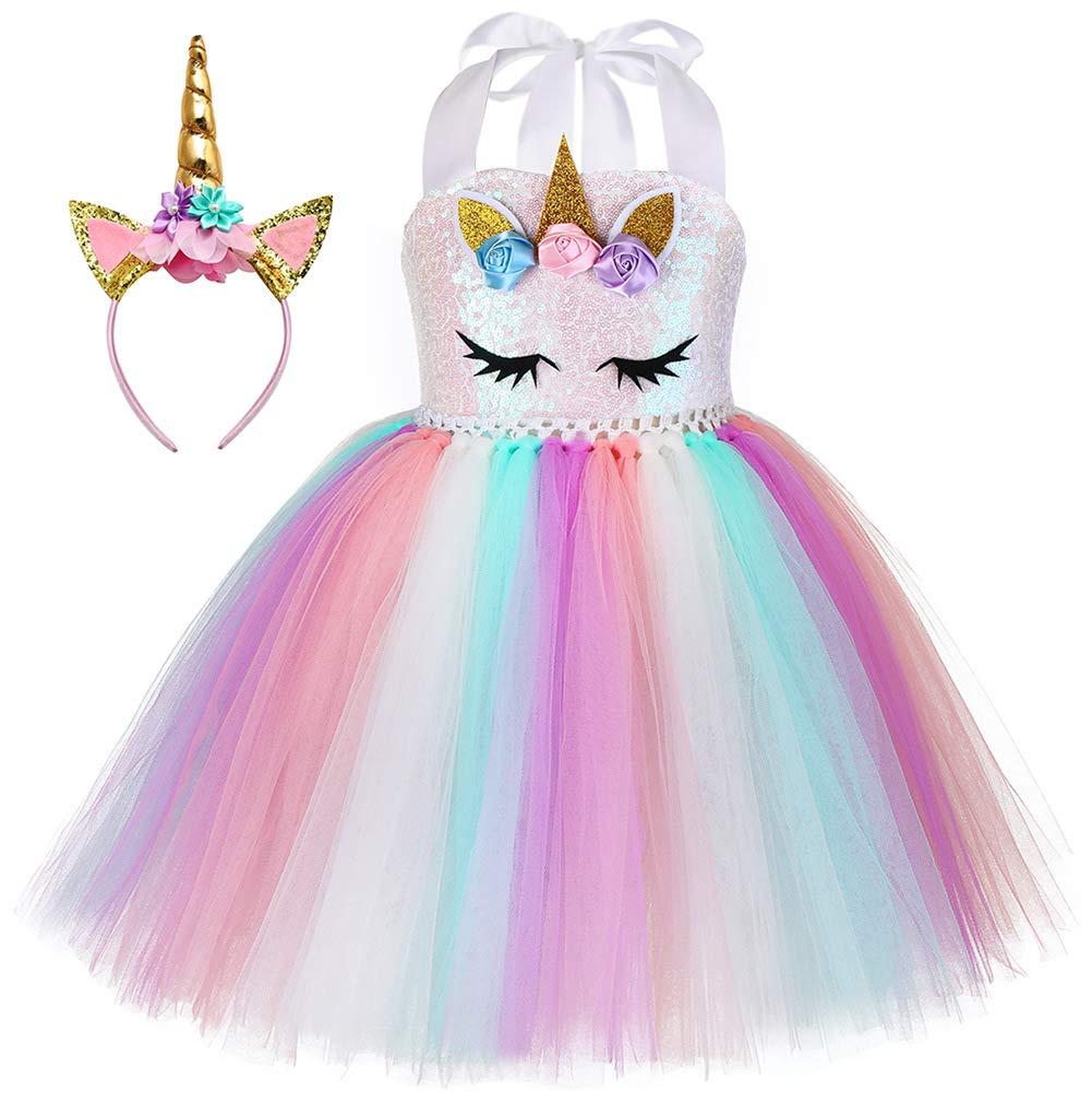 PURFEEL Girls Unicorn Tutu Dress Kids Rainbow Tutu Dress Birthday Costume with Headband