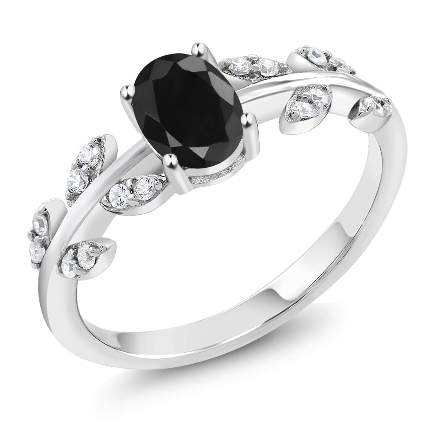 Gem Stone King 1.28 Ct Oval Black Sapphire 925 Sterling Silver Olive Vine Branch Engagement Ring (Available 5,6,7,8,9)