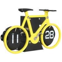 MIDCLOCK Bicycle Flip Clock, Retro Desk Clock, Flip Number Clock for Home Decor, Cool Unique Auto Flip Down Clock, Battery Powered (Lemon Yellow)