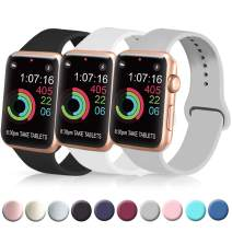 [3 Pack] Silicone Bands Compatible with Apple Watch Bands 38mm 40mm 42mm 44mm, Soft Wristbands Compatible with iWatch Bands (Black/Gray/White, 38mm/40mm-M/L)