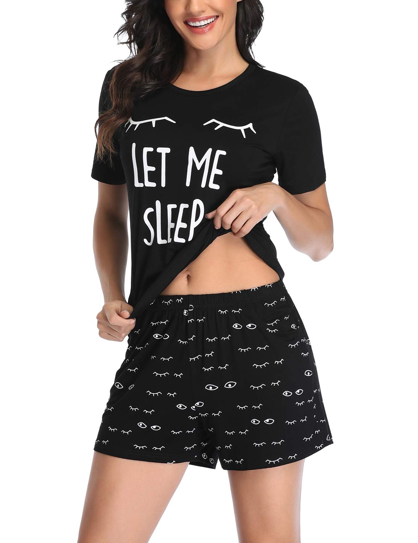 EISHOPEER Women's Pajama Cute Print Tee and Shorts Sleepwear Pjs Sets XS-XXL