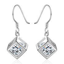 AMBESTEE Women Sliver Plated Fashion Shell Design Inlay Zirconia Crystal Dangle Drop Purple Earrings