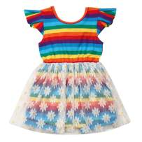 Toddler Baby Girl Floral Summer Dress Sunflower Short Sleeve Tutu Casual Dress Outfit