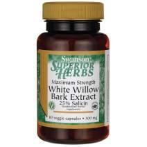 Swanson Maximum Strength White Willow Bark 500 Milligrams 60 Veg Capsules