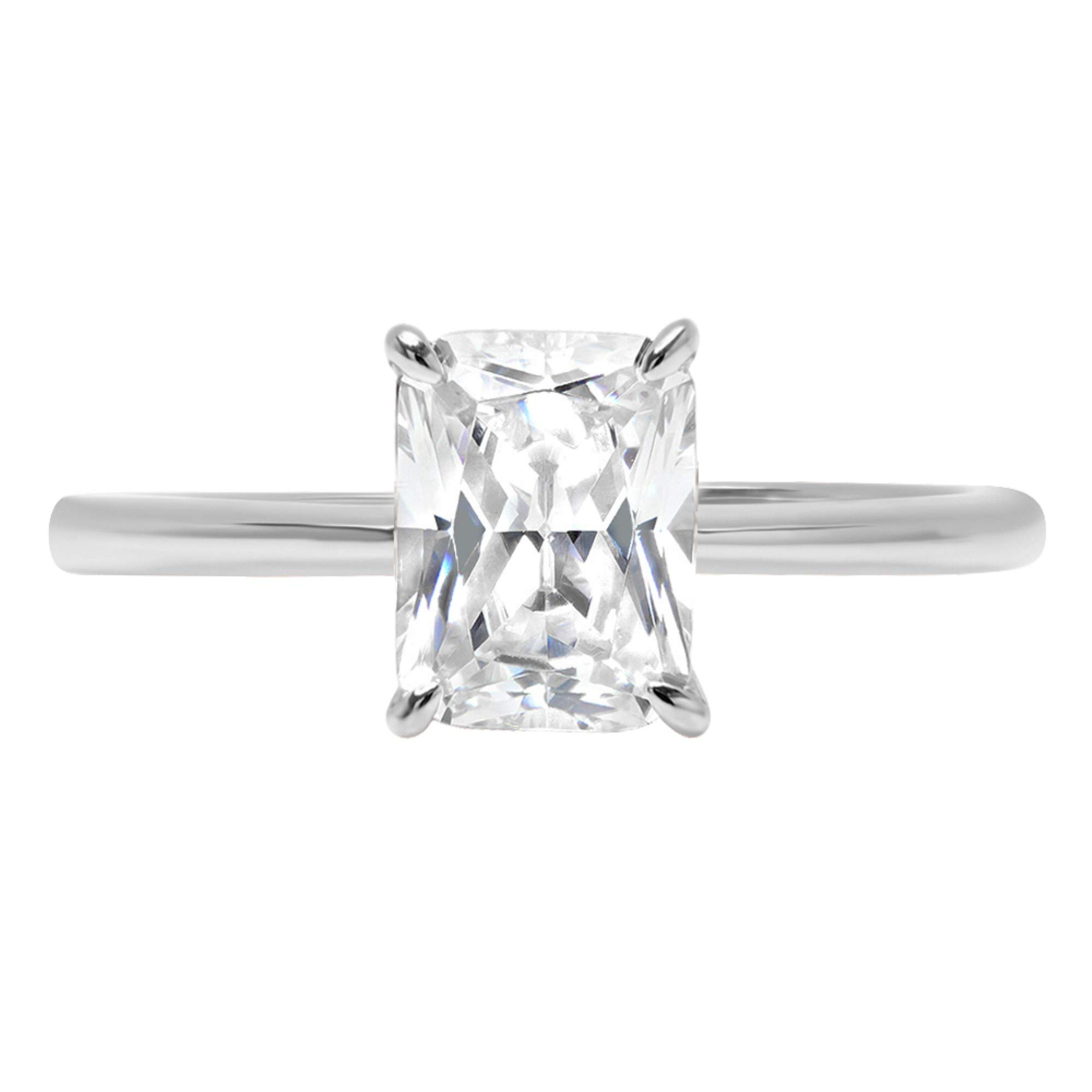 2.45ct Brilliant Radiant Cut Solitaire Highest Quality Lab Created White Sapphire Ideal VVS1 D 4-Prong Classic Designer Statement Ring Solid Real 14k White Gold for Women