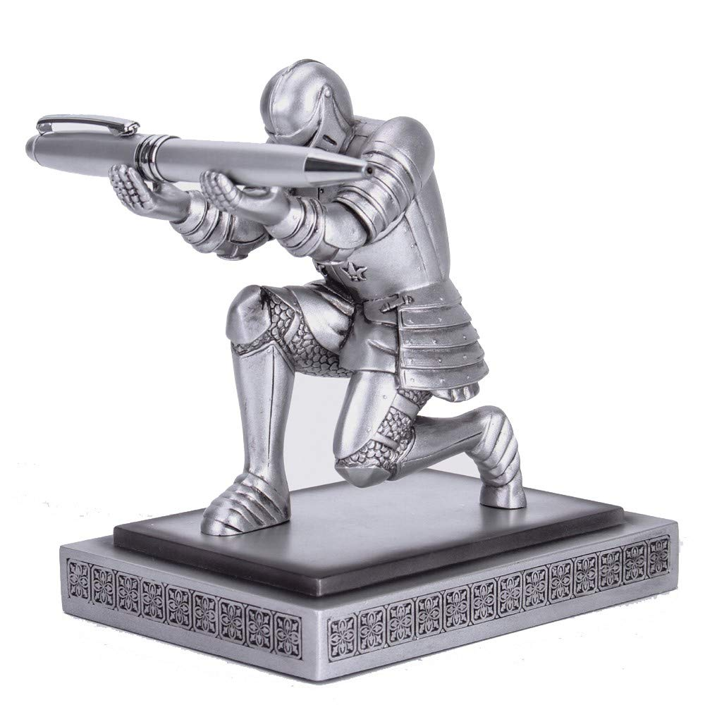 Amoysanli Knight Pen Holder Desk Organizers and Accessories Desk Decor Resin Pen Holder as Gift with a Cool Pen for Office and Home (Silver)
