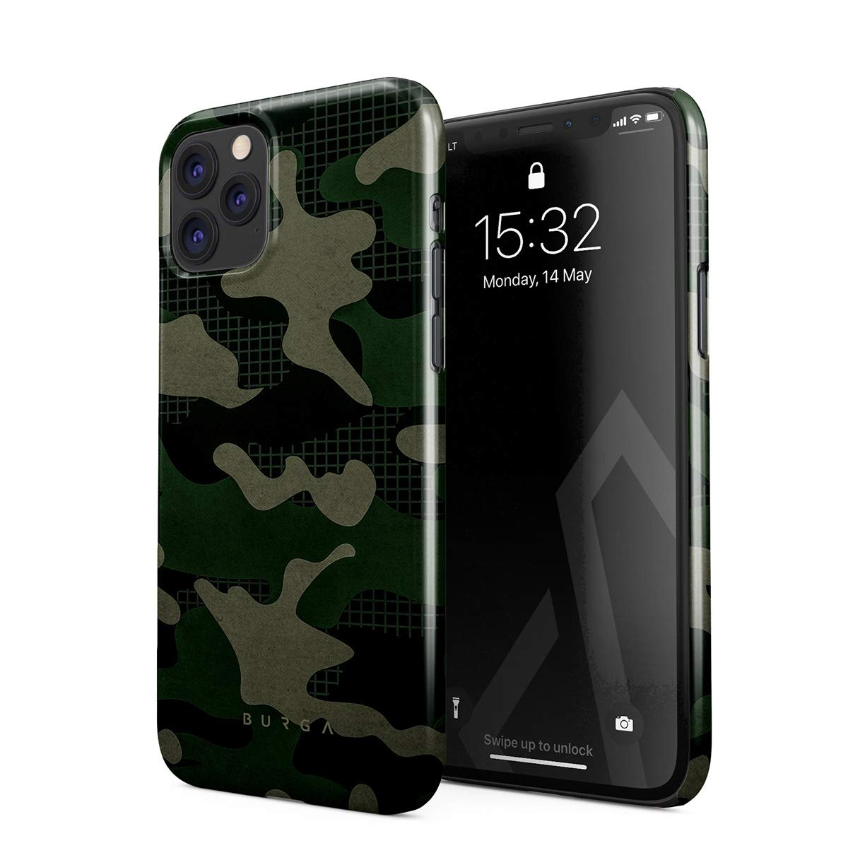 BURGA Phone Case Compatible with iPhone 11 PRO MAX - Jungle Military Green Camo Camouflage Cute Case for Women Thin Design Durable Hard Plastic Protective Case