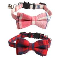 Imikoko Cat Collar Breakaway with Cute Bow Tie and Bell for Kitty Adjustable Safety Plaid 2 Pack/Set (Red&Pink)