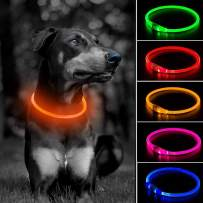 Light Up LED Dog Collar - USB Rechargeable Glowing Pet Collar, TPU Cuttable Safety Dog Necklace for Small Medium Large Dogs
