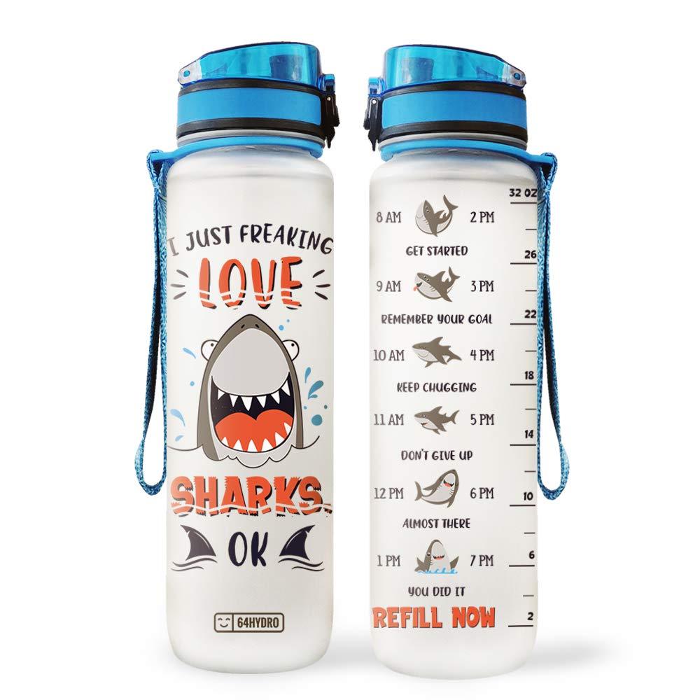 64HYDRO 32oz 1Liter Motivational Water Bottle with Time Marker, Shark Inspiration I just Freaking Love Shark PYY2705004 Water Bottle