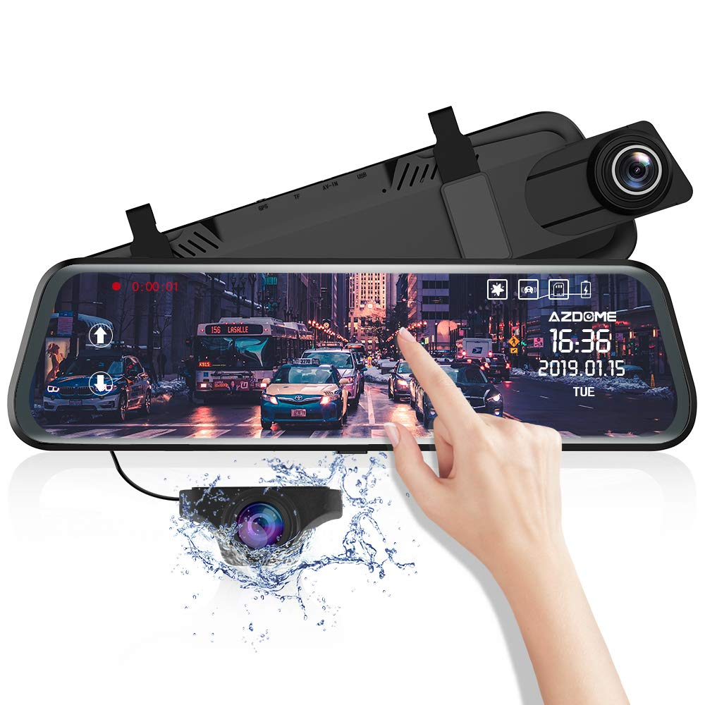 """Mirror Dash Cam for Car, 10"""" Touch Screen /1080P HD/ 170 °Wide Angle, Front and Rear Car Camera with WDR, Night Vision, G-Sensor, Lane Departure Warning System,Parking Assistance"""