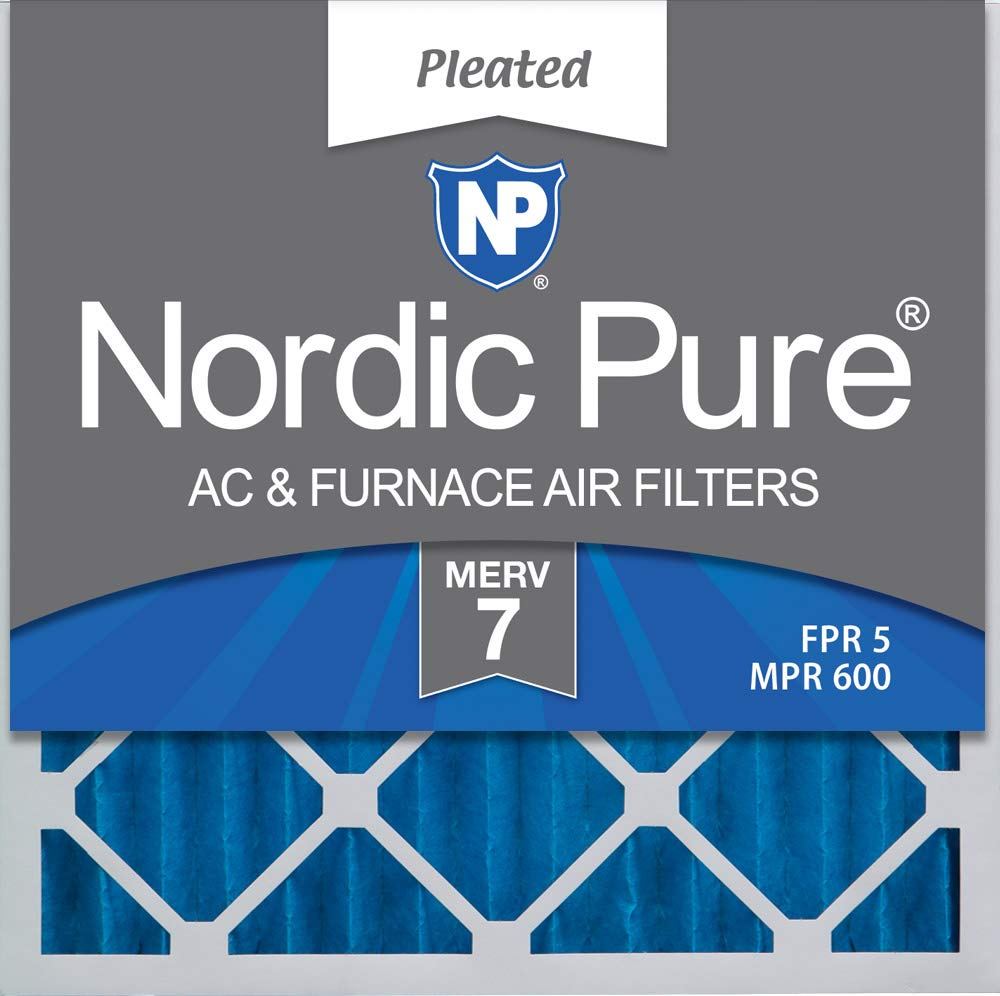 Nordic Pure 25x25x2 MERV 7 Pleated AC Furnace Air Filters 3 Pack