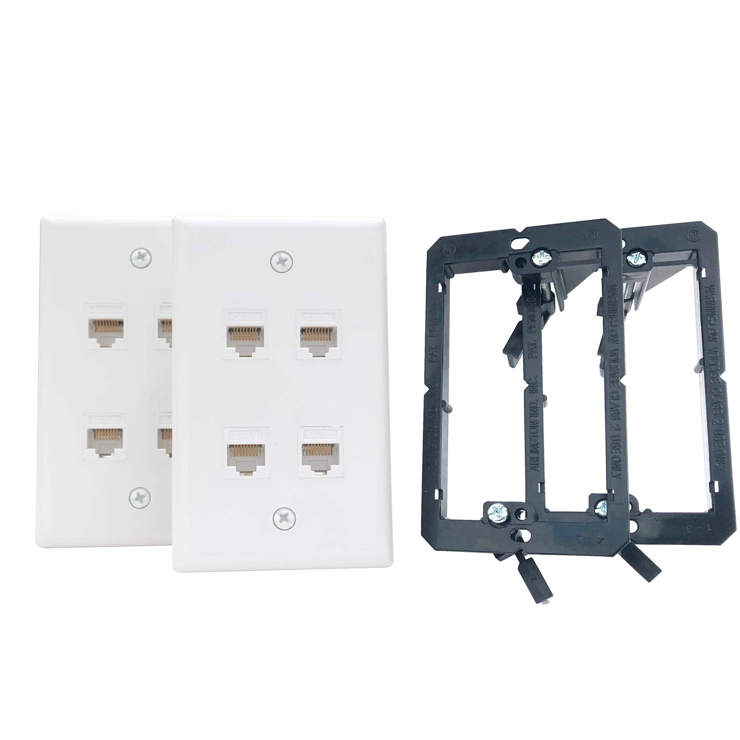 KCC Industries 4-Port Cat6 Ethernet Cable Wall Plate | Female-Female with Mounting Bracket +UL/CSA Listed Safe+ (2-Pack)