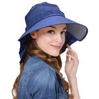 Lujuny Bill Flap Ponytail Sun Hat – UV Protection Wide Brim Cap with Neck Cover for Women Girls