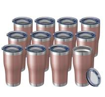 20oz 12 Packs Wholesale Bulk Insulated Stainless Steel Tumblers Coffee Travel Mugs Reusable Blank Vacuum Double Wall with Lid Hot n Cold Drinks Cups Metal Thermal Women Men (A Dozen, Rose Gold)