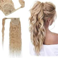 20 Inches Corn Wave Wrap Around Human Hair Ponytail Extensions 100% Remy Human Hair Long Wavy Curly With Comb Clip in One Piece Pony Tail Extensions For Black Women #613 Bleach Blonde 18'' 95g