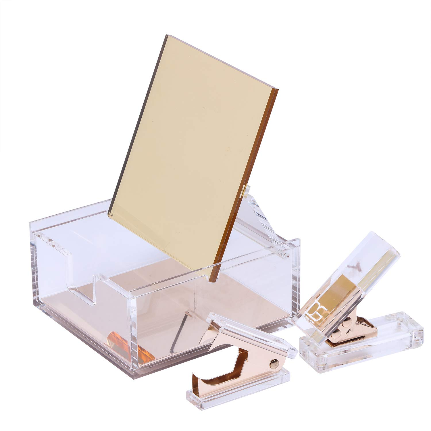 Acrylic & Gold Stationery Bundle: 1) Hole Punch 1) Staple Remover 1) Built-in Mirror Box - All Gold Everything by Draymond Story