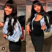 Body Wave Human Hair Full Machine Made Wigs With Straight Bangs Natural Wave Wigs With Bangs 130% Density 18 Inch Virgin Brazilian None Lace Wigs Human Hair Wigs For Black Women Natural Black Color