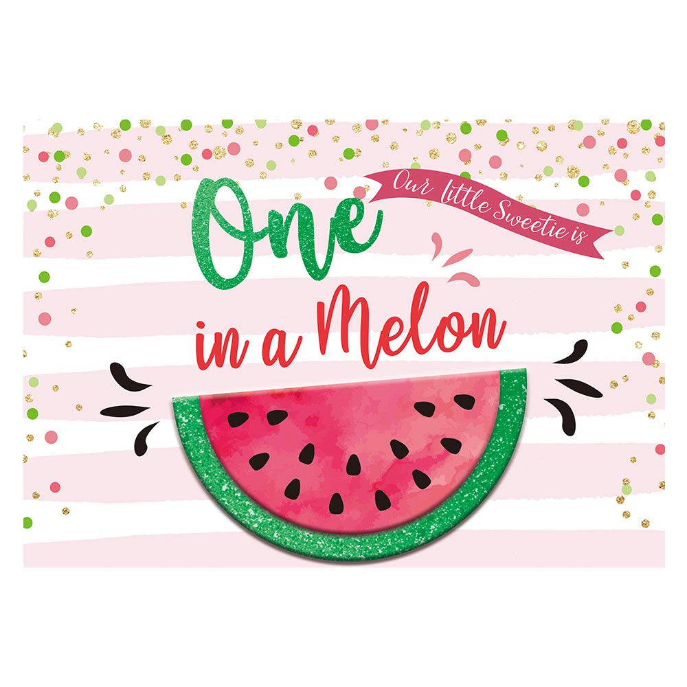 Funnytree 7x5ft One in a Melon Party Backdrop Watermelon Theme First 1st Birthday Baby Girl Photography Background Summer Fruit Pink Stripes Gold Glitter Dots Banner Cake Table Decoration Photo Booth