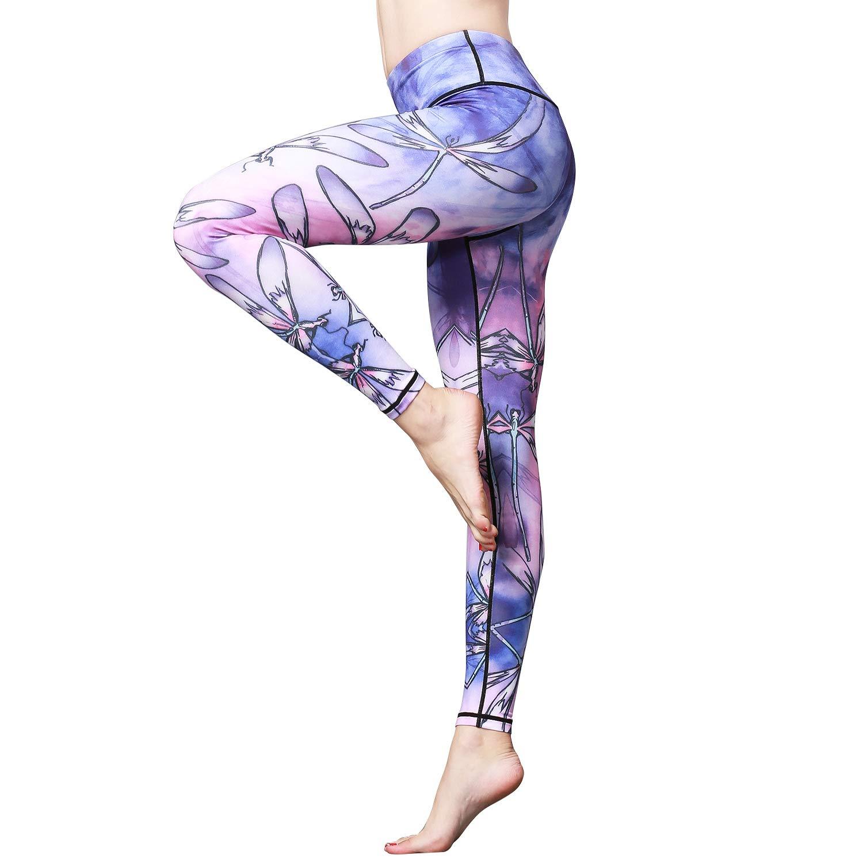 Witkey Women Yoga Pants Printed Yoga Leggings High Waist Power Flex Capris Workout Leggings for Fitness Running