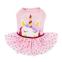 kyeese Dog Unicorn Dresses Girl Dog Dress Party Birthday Pet Apparel with Star Printing for Small/Medium Dogs Sundress