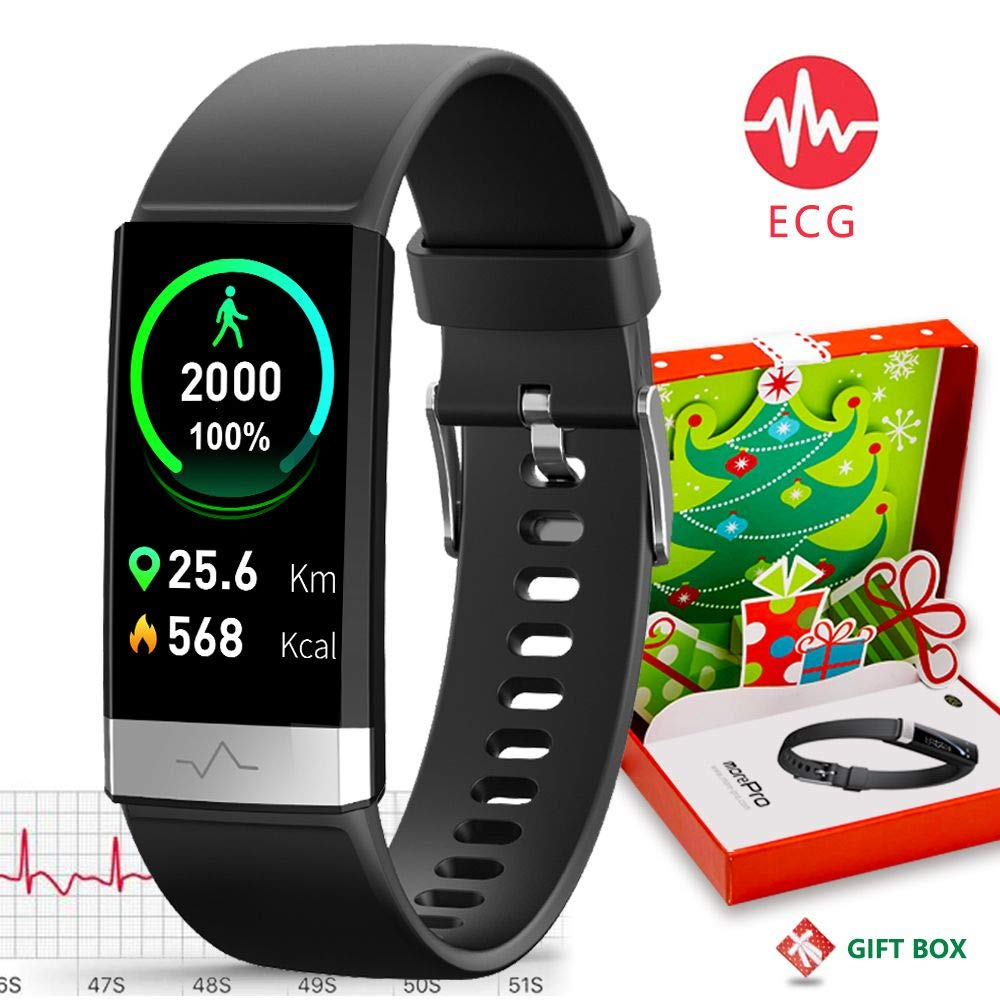 MorePro ECG PPG Fitness Tracker HRV,HD Color Screen Activity Tracker with Heart Rate Blood Pressure,Waterproof Health Watch,Sleep Monitor Pedometer Step Counter for Men Women Android iOS (Deep Black)