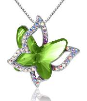 """GEMMANCE Butterfly Crystal Necklace with Premium Birthstone, Silver-Tone, 18""""+2"""" Chain"""
