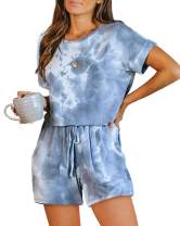 GOSO Womens Tie Dye Jumpsuit,Summer Casual Short Sleeve Elastic Waist Romper Playsuits with Pockets